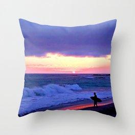 Sunset Skimboarder Throw Pillow