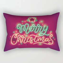 Merry Christmas Colorful Neon Sign Rectangular Pillow