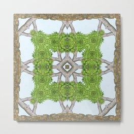 Bark Leaves Stone Kaleidoscope Art 8 Metal Print
