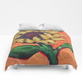 Orange Sunflower Comforters
