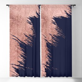 Navy blue abstract faux rose gold brushstrokes Blackout Curtain
