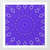 Lovely Healing Mandala  in Brilliant Colors: Purple and Blue Art Print