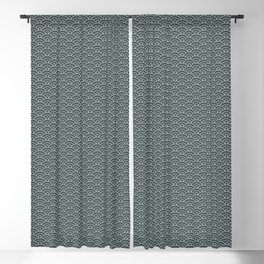 PPG Night Watch Pewter Green Scallop Wave Pattern Blackout Curtain