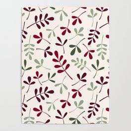 Assorted Leaf Silhouettes Ptn Reds Greens Cream Poster