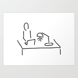at the desk with laptop Art Print