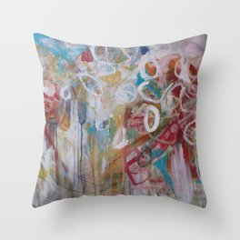 Playing in the Garden - Abstract Modern Contemporary Flowers Throw Pillow