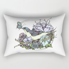Bird and Butterfly Friendship in Pastel Rectangular Pillow