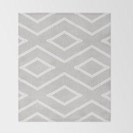 Stitch Diamond Tribal Print in Grey Throw Blanket