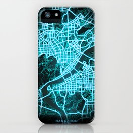 Hangzhou, China, Blue, White, Neon, Glow, City, Map iPhone Case