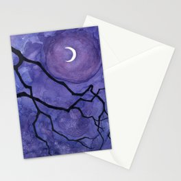 Crescent Moon and Night Sky  Stationery Cards