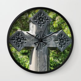 Gothic Style Christian Cross Headstone Old Holy Trinity Church in Wentworth  Wall Clock