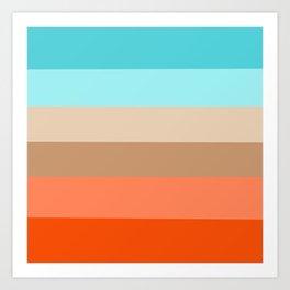 Modern orange aqua sand color block stripes Art Print