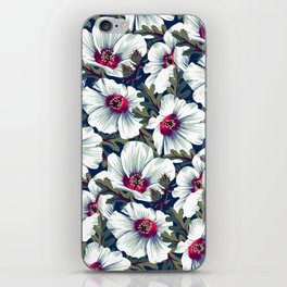 New Zealand Hibiscus Floral Print (Night) iPhone Skin