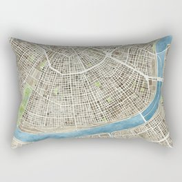 New Orleans City Map Rectangular Pillow
