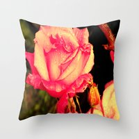 rare Throw Pillows featuring Rare Rose  by Ambers Vintage Find