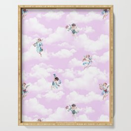 Cherubs on Pinky Sky Serving Tray