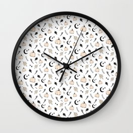 Halloween, pumpkin, moon, stars and leaf Wall Clock