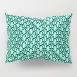 Gleaming Green Metal Scalloped Scale Pattern Pillow Sham