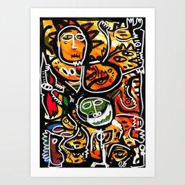 Graffiti Acrylic Painting Outsider Art Friends  Art Print