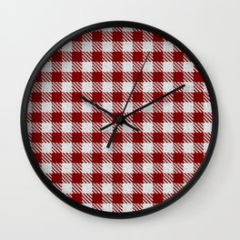 Maroon Buffalo Plaid Wall Clock