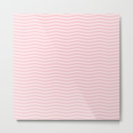 Light Millennial Pink Pastel Color Chevron Zig Zag Stripe Metal Print