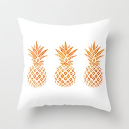 Orange Swirl Pineapples on White Throw Pillow