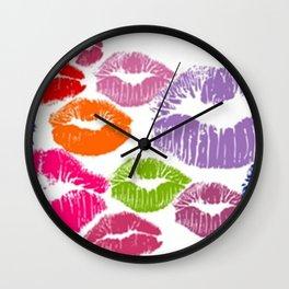 Colorful Lipstick Kisses Lip Color Wall Clock