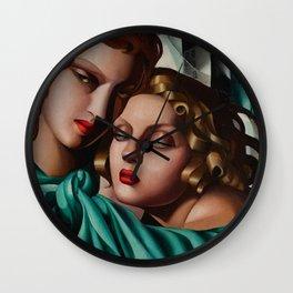 Classical Masterpiece 'Cold Beauty - Two Girls - Les Jeunes Filles' by Tamara de Lempicka Wall Clock