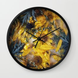 Frozen yellow flowers Wall Clock