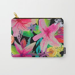 Neon Azeleas // Black Carry-All Pouch