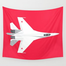 Su-27 Flanker Fighter Jet Aircraft - Crimson Wall Tapestry