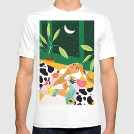 Moon Lover, Bold Quirky Fashion Illustration, Eclectic Decor Modern Bohemian Plant Lady T-shirt
