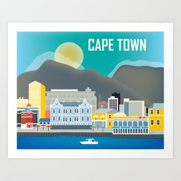 Cape Town, South Africa - Skyline Illustration by Loose Petals Art Print