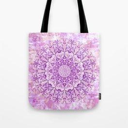 Lavender & Lilac Watercolor Mandala , Relaxation & Meditation Circle Pattern Tote Bag