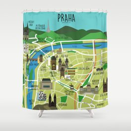 Prague map illustrated Shower Curtain