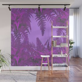 DECORATIVE PURPLE-LILAC GREY ORIENTAL FERNS GARDEN ART Wall Mural