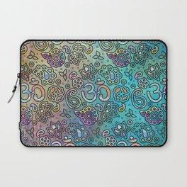 Pastel  Turquoise watercolor  OM symbol pattern Laptop Sleeve