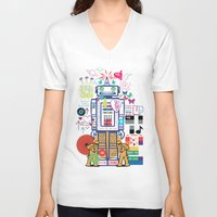 coldplay V-neck T-shirts featuring we live in a beautiful world by Giulia De grazi