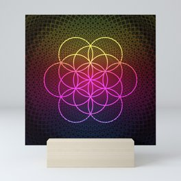 Sacred Rainbow Flower of Life Mini Art Print