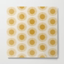 Golden Sun Pattern Metal Print