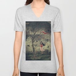 Girl on a swing in the woods Unisex V-Neck