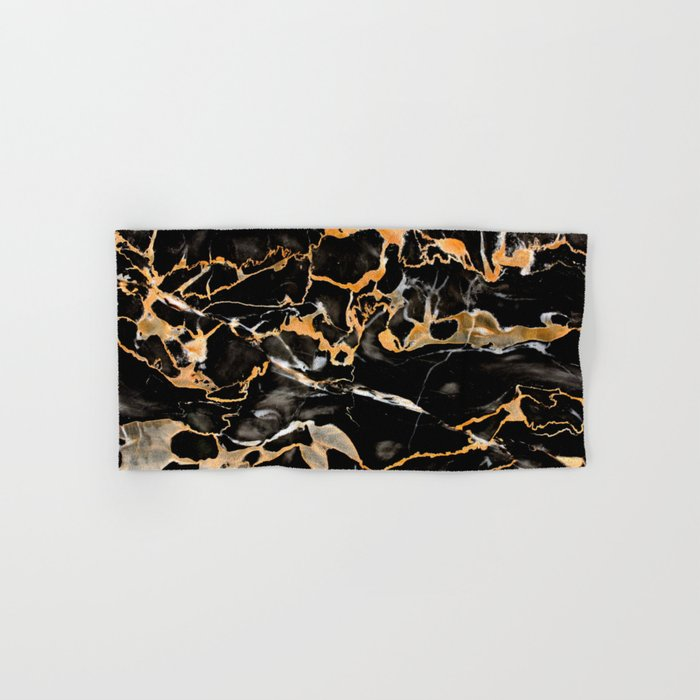 Black & gold marble Hand & Bath Towel