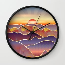 Golden sunset over rolling hills and mountains Wall Clock