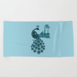Blue peacock oriental dream Beach Towel
