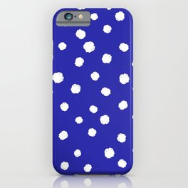 Hand-Drawn Dots (White & Navy Blue Pattern) iPhone Case