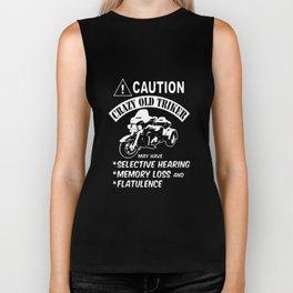 caution crazy old triker bike t-shirts Biker Tank