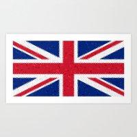 british flag Art Prints featuring British flag mosaic by Zora Zora