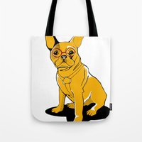frenchie Tote Bags featuring Frenchie by andiroses
