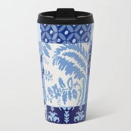 Blue and White Patchwork Squares Travel Mug