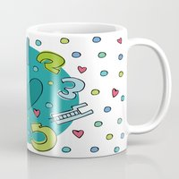 numbers Mugs featuring Numbers by Bea Blanco